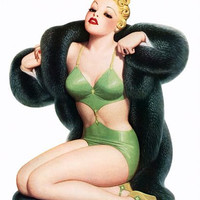 Pinup Girl Blonde With Fur Coat Poster