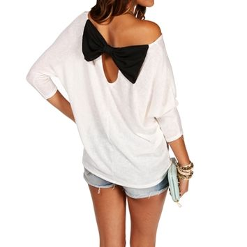 IvoryBlack Bow Back Dolman Top