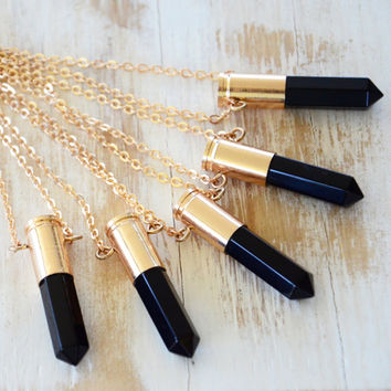 BLACK AGATE ➳ GOLD BULLET NECKLACE