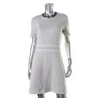 Theory Womens Knit Short Sleeves Wear to Work Dress
