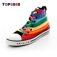 Dropshipping Hot Flats Spring Autumn Colorful High Canvas Shoes Female Shoes Casual Flat Woman Shoes Rainbow Lady Footwear C208
