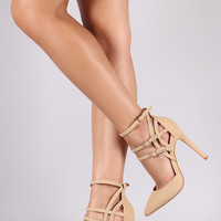 Nubuck Caged Ankle Cuff Pointy Toe Stiletto Pump