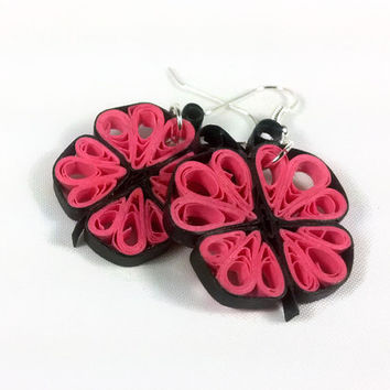 Paper Quilling Pink Butterfly Earrings - paper quilling earrings, butterfly jewelry, paper jewelry, pink earrings, girls earrings