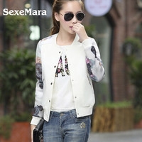 Brand Tops 2016 Flower Print Girl Plus Size Casual Baseball Jacket Women Sweatshirts Button Thin Bomber Jacket Long Sleeves Coat