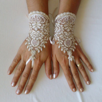 Ivory gold frame lace wedding gloves, bridal gloves, bridal party, ceremony, prom, celebration