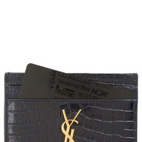 Saint Laurent Monogram Croc Embossed Leather Card Case | Nordstrom