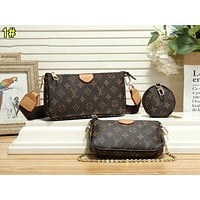 LV Louis vuitton casual lady printed leather cross bag small purse three-piece set