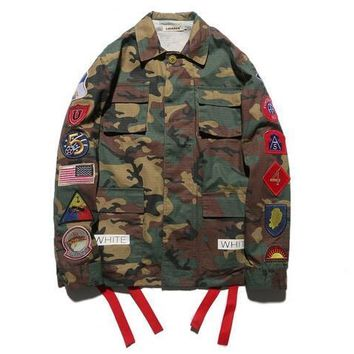 New arrive fashion brand men kanye west Off White jacket camouflage red stripe off white 13 badge windbreaker