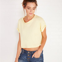 Soft Crop Tee With Roll Sleeves | Wet Seal