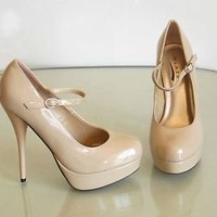 New Stilettos Platform High Heel Mary Jane Pumps Patent Coral Nude Black US 6-10