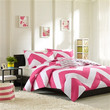 Full / Queen size Pink Chevron Stripe Comforter Set