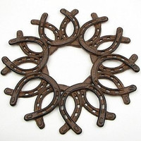 CAST IRON HORSESHOE WREATH DECOR Beautiful Western Ranch Rustic Home Decor NEW!