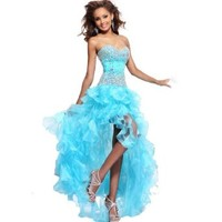MISSYDRESS Strapless Rhinestone Bridesmaid Evening Party Prom Cocktail Dress 04-Blue US size 8