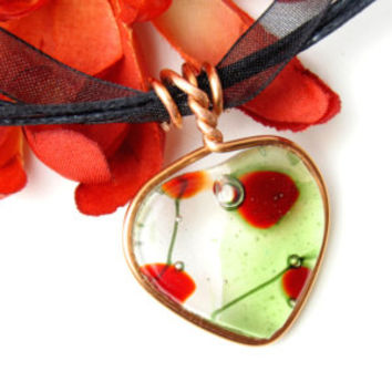 Handmade Fused Glass Bubble Heart Pendant with Copper Wire Wrapping Clear With Soft Green and Red by Umeboshi Jewelry Designs