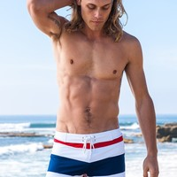 Sauvage Swimwear Stripe Retro Swimmer | Designer Swim Shorts