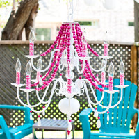 Victorian Mod Custom Chandeliers in any color //pink, aqua blue, turquoise, black, green & more// - LARGE