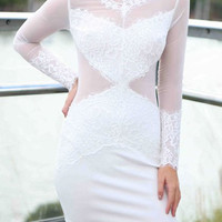 White Sheer Mesh Panel Mini Dress
