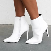 Max Potential White Stiletto Studded Bootie
