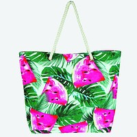 Tropical Leaf Floral Watermelon Tote Bag