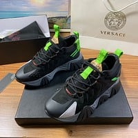 Versace Men's And Women's Leather Fashion Low Top Sneakers Shoes