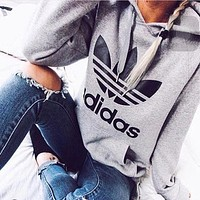 Adidas Print Hooded Pullover Tops Sweater Sweatshirts