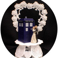 Bride & Groom Wedding Cake Topper w/ DR. WHO Doctor TARDIS phone booth funny top