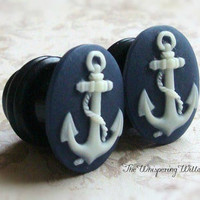 Anchor Cameo Plugs for Gauged Ears Sizes, 7/16 Inch, 00 gauge, 0 gauge, 2 gauge, 4 gauge, Also For Pierced Ears