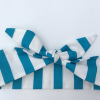 Dolly Headband, Tie-Up - Teal and White Stripes -  READY TO SHIP!