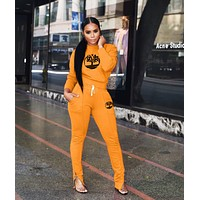 Timerland Women Casual Multicolor Letter Pattern Print Long Sleeve Trousers Set Two-Piece Black