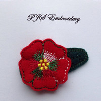 Red Felt Flower With Green Red and White Verirgated Thread Snap Clip Barrette