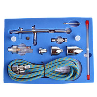 2015 New 0.3,0.5,0.8mm Dual-action Airbrush Kit with Airbrush Hose Body Paint Makeup Spray Gun for Nail Paint Art Drawing