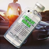 Clear Green Absolut Vodka Alcohol Bottle TPU Silicone Phone Case Iphone Samsung Cover