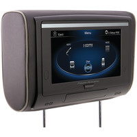 "Power Acoustik 9"" Lcd Universal Headrest With Ir & Fm Transmitters & 3 Interchangeable Skins (dvd Player & Touchscreen)"