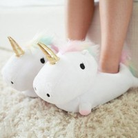 Indoor Slippers Cute Cartoon Plush Unicorn Slippers f
