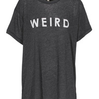 WILDFOX Weird Clean Black Oversized T-shirt with print - T-Shirts