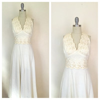 Vintage 1970s Sleeveless Ethnic Hippie Bohemian Gypsy Embroidered Cream Maxi Dress