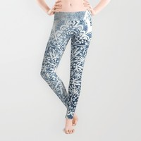 BLUEISH SEA FLOWER MANDALA Leggings by Nika
