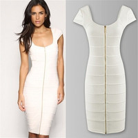 2014 Celebrity Bodycon Bandage Dress Solid Color Square Collar Knee Length Pencil Dress Evening Party Dress = 1956537924