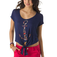 Floral Anchor Tie Front Tee