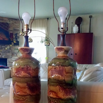 MID CENTURY LAMP Pair - Large Ceramic Table Lamps - True Vintage 1960's Olive Green - Yellow Ocher - Caramel - Wood - 3 Way Bulb Switch