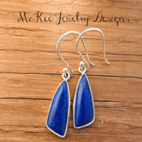 Lapis lazuli gemstone and Argentium silver earrings