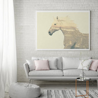 Horse Print, Horse Illustration, Double Exposure, Horse Double Exposure, Minimal Print, Animal Print, Bedroom Poster, Wall Art, Home Decor,