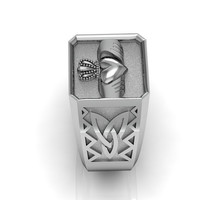Claddagh Ring - Sterling Silver Irish Heart Men's Celtic and Claddagh Ring