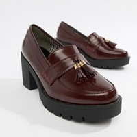 River Island heeled chunky loafers in burgundy at asos.com