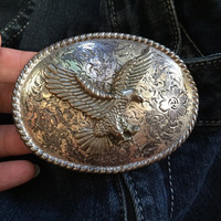 Vintage Belt Buckle, Silver Eagle Belt Buckle, Vintage Silver Belt Buckle, American Eagle Flying Bird Belt Buckle Mens Vintage Western USA