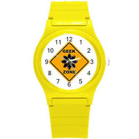 Geek Zone Design on a Yellow Plastic Watch...Great for Kids