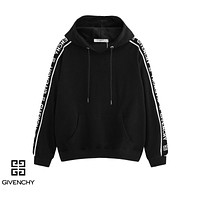 Givenchy casual couples long-sleeve hoodies are hot sellers with a side LOGO strip Black