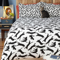 ModCloth Cats Yours, Mine, and Noir's Duvet Cover in Full, Queen