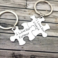 I love you always forever, Couples Keychains, Engagement gift , Anniversary Gift