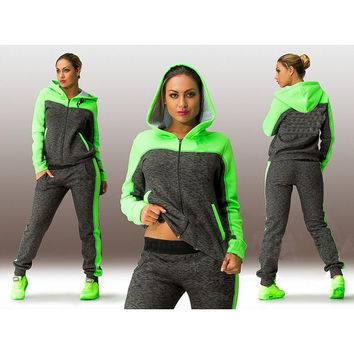 Big size L-4XL 2 pcs tracksuit for women svitshot Hoodies pink green hooded sweatshirt+pants jogging sport suits clothing sets